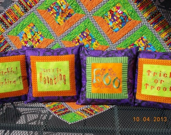 """Halloween Ghosts Ghouls Goblins Witches Bats Scarey Trick or Treat Haunting Boo 16"""" pillow covers.  SALE PRICED.  1 ea. av."""
