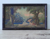 1925 Art Deco Framed Lithography by R. Atkinson Fox - Love Paradise - A Mother and Her Child