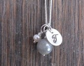 Monogram Initial Sterling Silver Disc Necklace with Grey Quartz Stone