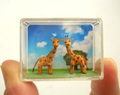 Miniature Giraffe Couple - Micro Dollhouse Amigurumi Animals - Made to Order