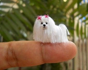 Maltese - Tiny Crochet Miniature Dog Stuffed Animals - Made To Order