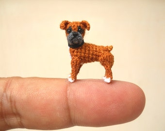 Miniature Fawn Boxer - Tiny Crochet Dog Stuffed Animals - Made To Order