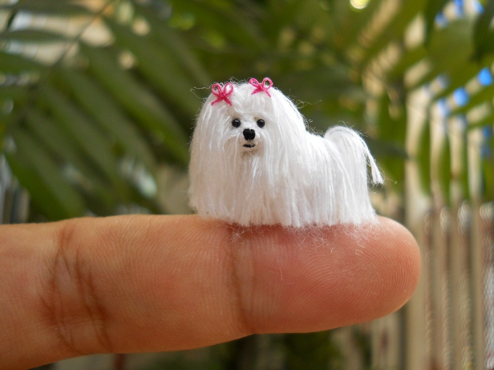 Maltese Dog Knitting Pattern : Maltese Tiny Crochet Miniature Dog Stuffed Animals Made To