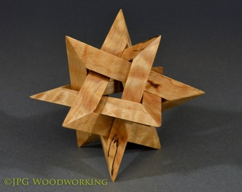 Star sculpture, ornament, quilted maple