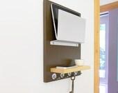 NEPTUNE: wall mounted wooden modern minimal ipad iphone device storage center key hooks organizer office entry dorm room organization brown