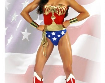 Wonder Woman Costume Lynda Carter Replica Comic Con Custom Made Sizes XS-M