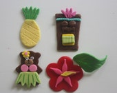 12 fondant luau cupcake toppers--hibiscus, hula, pineapple, tiki god