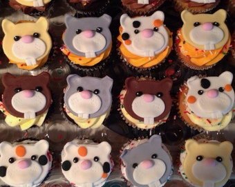 12 Fondant cupcake toppers--assorted hamsters
