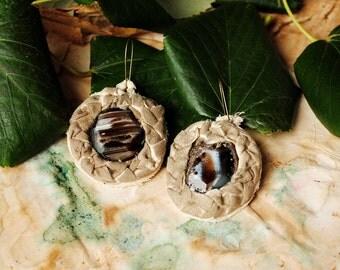 Dry ground fabric earrings -rustic natural gemstones statement primitive earrings