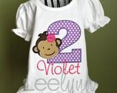 Mod Monkey Girl Personalized Birthday Shirt - Purple, Girls Birthday Shirt, First Birthday Shirt, Kids Birthday Shirt