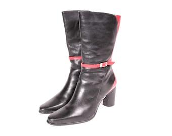 Red & Black High Heel Short Boot Women's Size 6 1/2 PAOLA RUGGERI