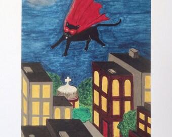 Superhero Flying Cat Folk Art Print Cityscape Quirky Fun Cat Lady Caped Crusader Flying Cat Wonder Amazing Hero Cat