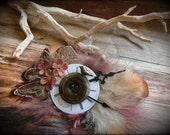Vintage clock face hair barrette, singing bird, Victorian, steampunk, fantasy, woodland