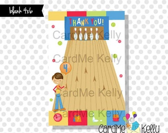 Printable M2M 4x6 Coordinating Thank You Note for Bowling Boy or Girl Birthday Invitation - Digital File