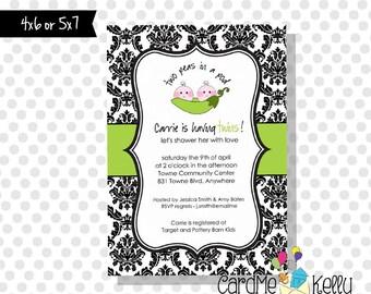 Printable Twin Triplets Peas in A Pod Boy Girl Baby Shower Invitation Digital File