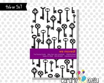 Printable Any Accent Color Keys Change of Address Card - Printable Digital File