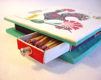 Vintage Matchbooks w/ Ceramic Tile Rooster Cover- Souvenir Of Portugal