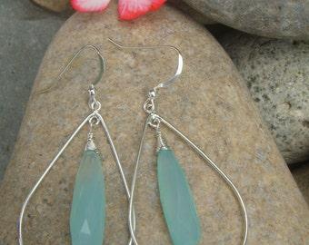 Aqua Teardrop Earrings - Aqua Chalcedony - Sterling Silver Earrings - Handmade -Two Sizes - Medium