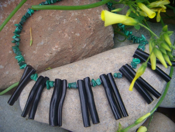 Statement Necklace - Black Coral Necklace - Green Malachite - Sterling Silver - Black & Green - Sexy Tribal