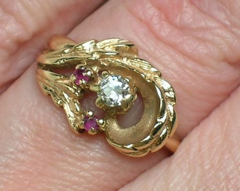 Retro Diamond Ring, Old Mine Cut, Northwest Woodland Engagement, 1970s, Ruby Topaz. Size 6 1/4