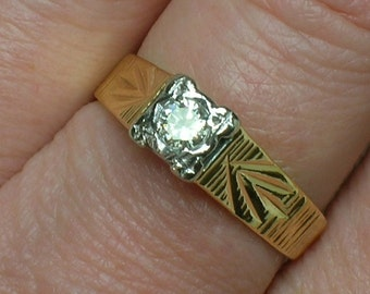 Retro Engagement Ring, English Modernist 18ct Diamond Solitaire. Size 6