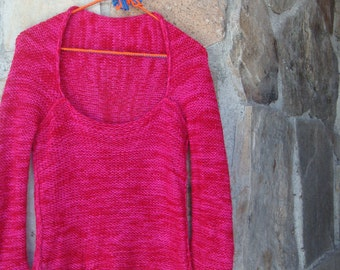 90s MESH PULLOVER SWEATER slouchy hot pink space dye knit top S