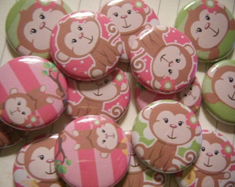 24 Sweet Flower Girl Monkey Pinback Button Party Favors Brooch Pin Set