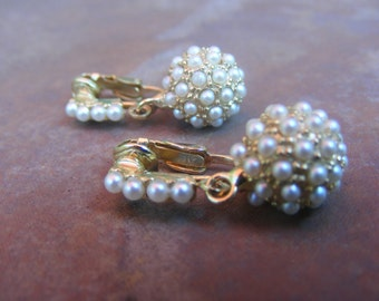 Vintage Faux Pearl Drop Earrings-Bride-Wedding