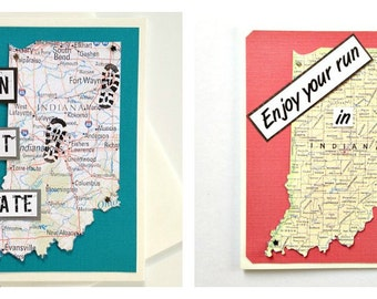 Indiana State - Run (or RAN) That State, Enjoy Your Run, Happy Trails To You Handmade Greeting Card for Runners - Marathon, Half-Marathon