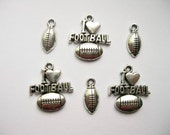 6 Football Charms in Silver Tone - C175