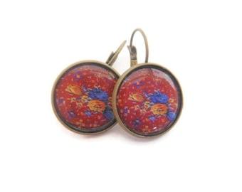 Red Blue Yellow Flower Earrings