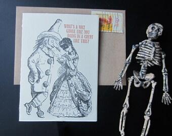 319 : Letterpress Halloween Card, Costume, Boo, Ghoul, Bat, Vampire