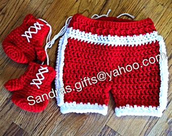 Crochet boxing gloves and shorts set