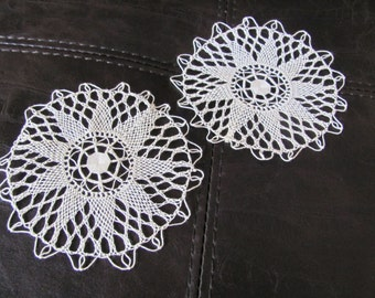 "Doily Set of 2 Wonderful Handmade Crocheted Round Linen Doily 4"" Inch"