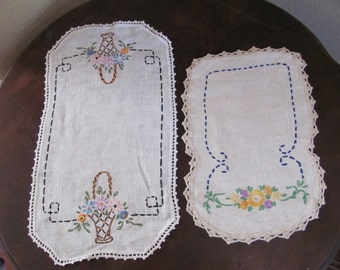 2 Lovely Antique Embroidered Crocheted Linen Doilies