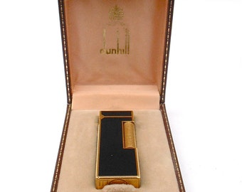 Vintage Dunhill Cigarette Lighter Dunhill Black Lacquer Cigar Lighter Dunhill Gloss Lacquer Gold Plated Mens Dunhill Rollagas Lighter
