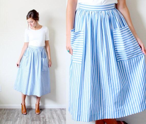 Vintage 50's SMALL// Light blue striped pocket full skirt// 60's skirt