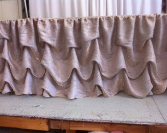 Custom Made Wedding Cake Table  Head Table Tablecloth Gold Shimmer Iridescent Fabric
