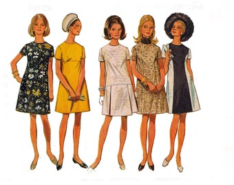 1960s A line Dress with jewel Neckline Seam and waist variations Size 16 Bust 38 UNCUT Vintage Sewing Pattern Butterick  5086