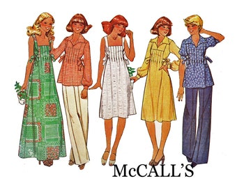 Vintage Square Neck Dress Sewing Pattern from 1970s Retro tucked front Boho Chic fashion Tunic Smock Top McCall's 5443 Size 8 Bust 31 1/2