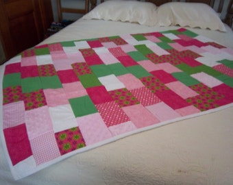 Fuzzy Hot Pink Baby Girl Quilt