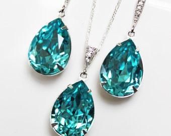 Swarovksi Light Turquoise Wedding Earrings and Pendant Jewelry Set, Turquoise Crytal Drop Bridal Jewelry Set, Bridesmaids Jewelry Set