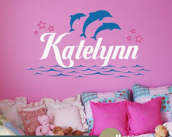 Personalized Wall Decal Name & Dolphins with Water and Stars