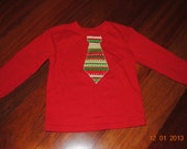 READY to SHIP - Boys 3T Christmas Tie Red long-sleeve shirt