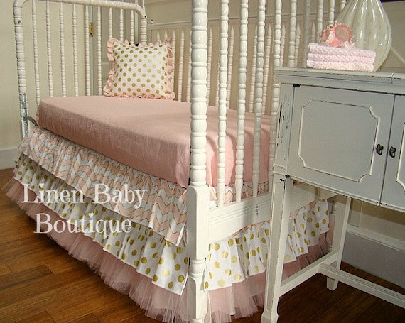 Ready To Ship Pink And Gold Tulle Bumperless Baby Bedding