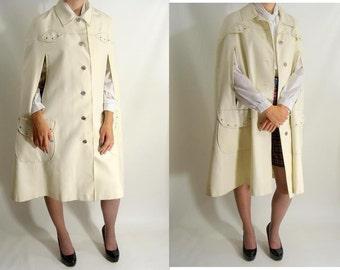 SALE was 74.95 vintage Cape. 60s Medium Length White Poncho Jacket MOD M L One Size