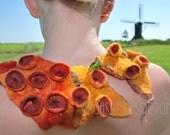 Shibori felted collar with organic structure orange coral reef