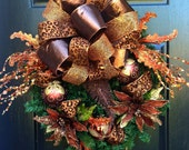 Chocolate, Bronze and Copper Cheetah Christmas Wreath, Holiday Wreath, Christmas Door Wreath, Large wreath