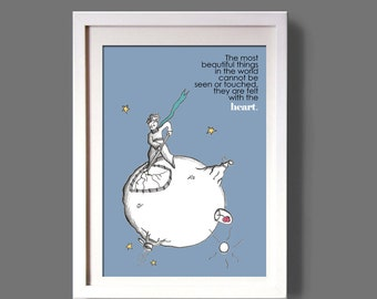 PETIT PRINCE quote poster, art poster, wall art, art illustration