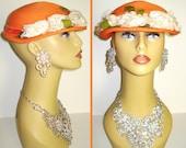 Vintage 1950s Hat  . Orange  . Designer  . Femme Fatale Couture Mad Men Garden Party Rockabilly Pinup Bombshell Dress